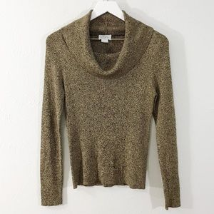 LOFT Brown & Gold Silk Cowl Neck Sweater